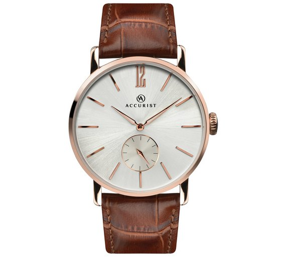 buy accurist men s silver dial brown leather strap watch at argos accurist men s silver dial brown leather strap watch464 8918