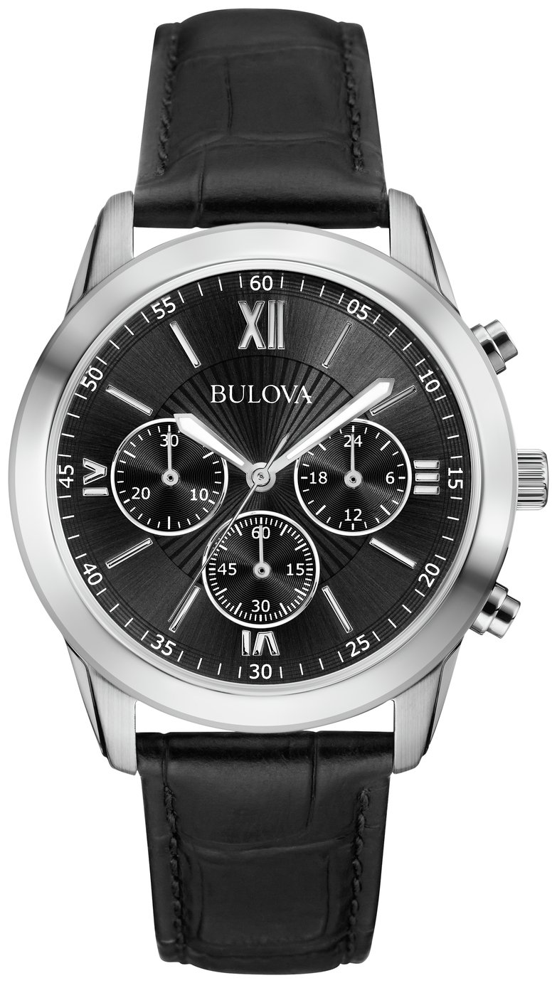 Image of Bulova - Mens Black Dial Chronograph Leather Strap - Watch