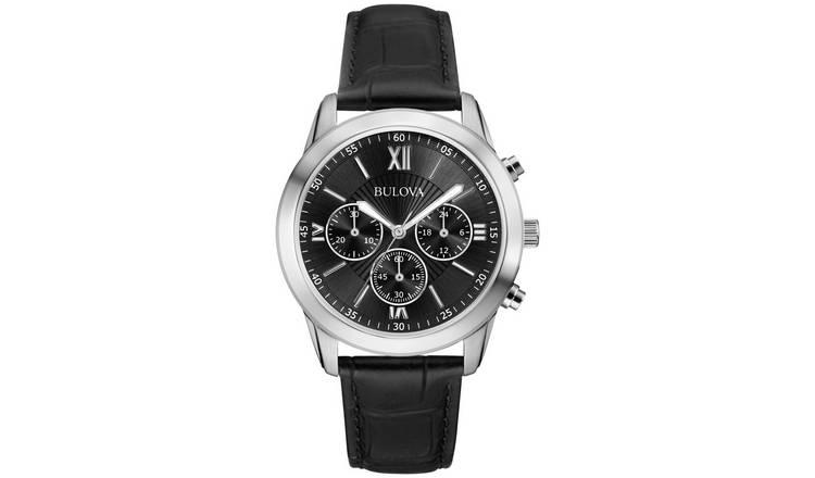 b52e76419166 Buy Bulova Men's Black Leather Strap Chronograph Watch | Men's ...