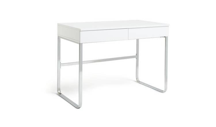 Habitat Sammy 2 Drawer Desk - White Gloss
