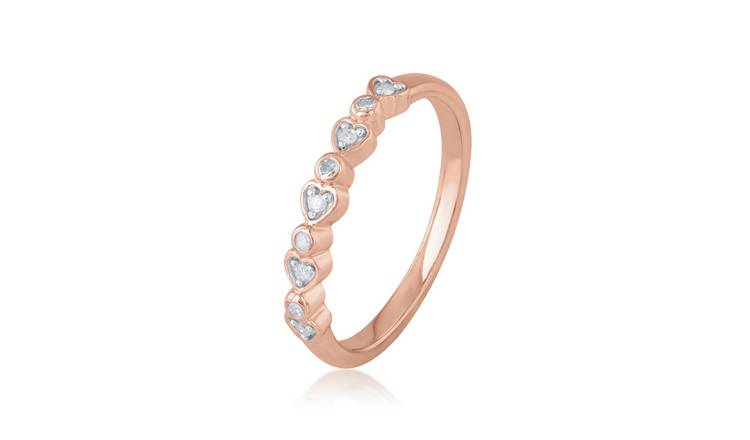 Revere Rose Gold Plated 0.05ct tw Diamond Heart Ring - M