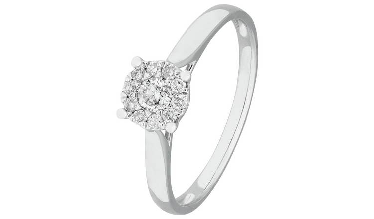 Revere 9ct White Gold 0.25ct tw Diamond Halo Ring - P