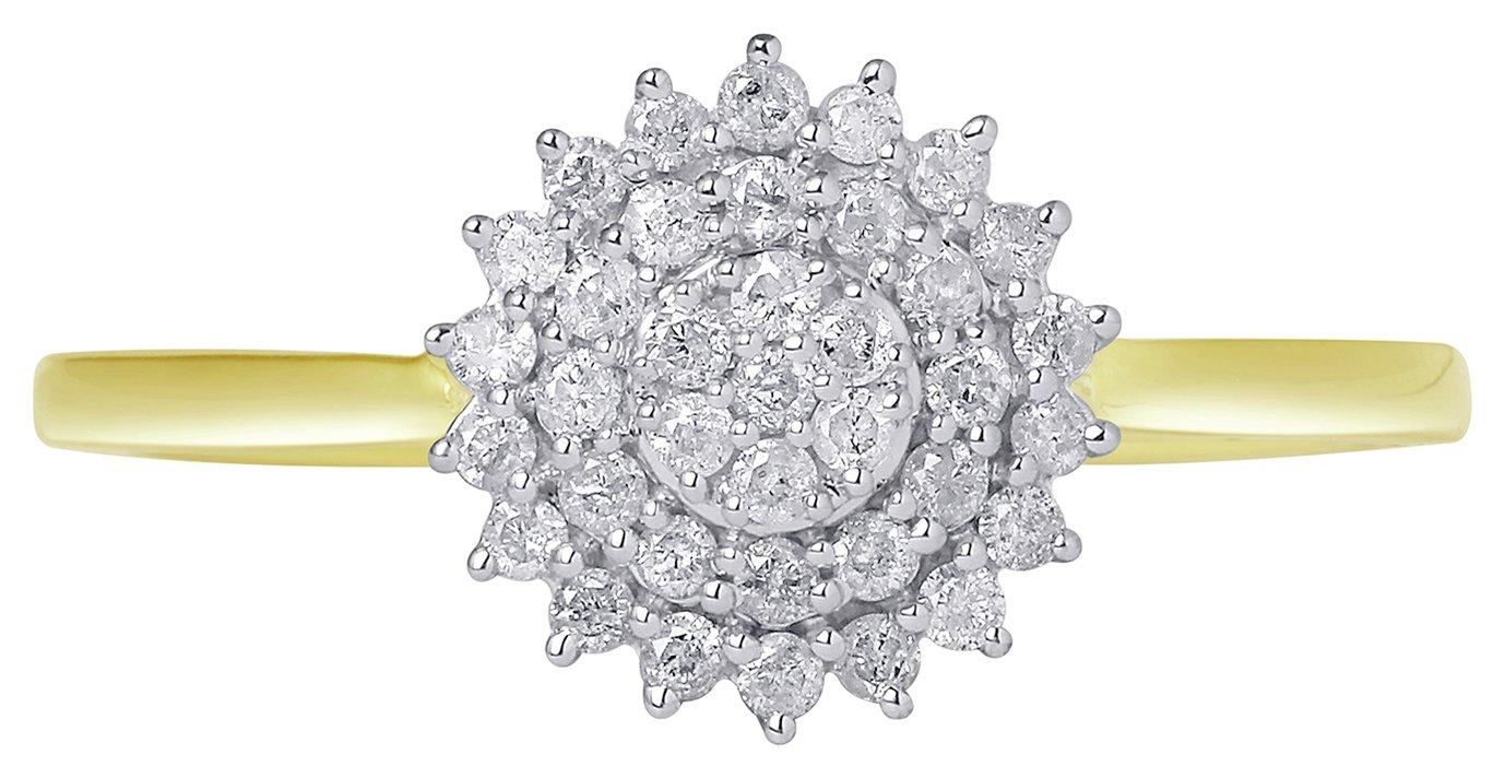 Revere 9ct Gold Diamond Cluster Ring - N