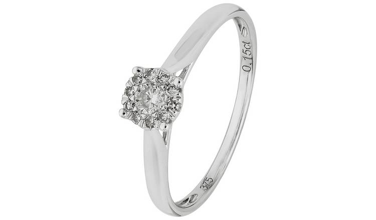 Revere 9ct White Gold 0.15ct tw Diamond Ring - S