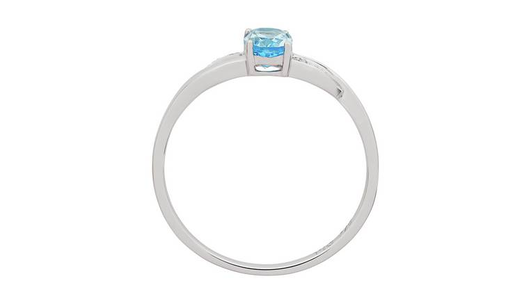 Revere 9ct White Gold Blue Topaz and Diamond Twist Ring - O