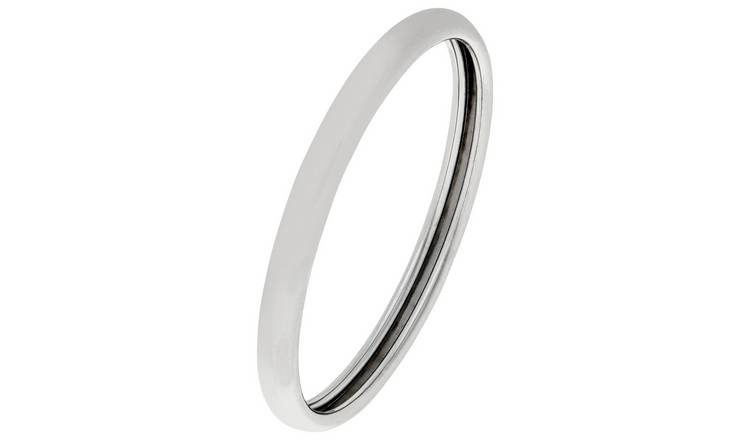 Revere 9ct White Gold Rolled Edge D-Shape Wedding Ring -S