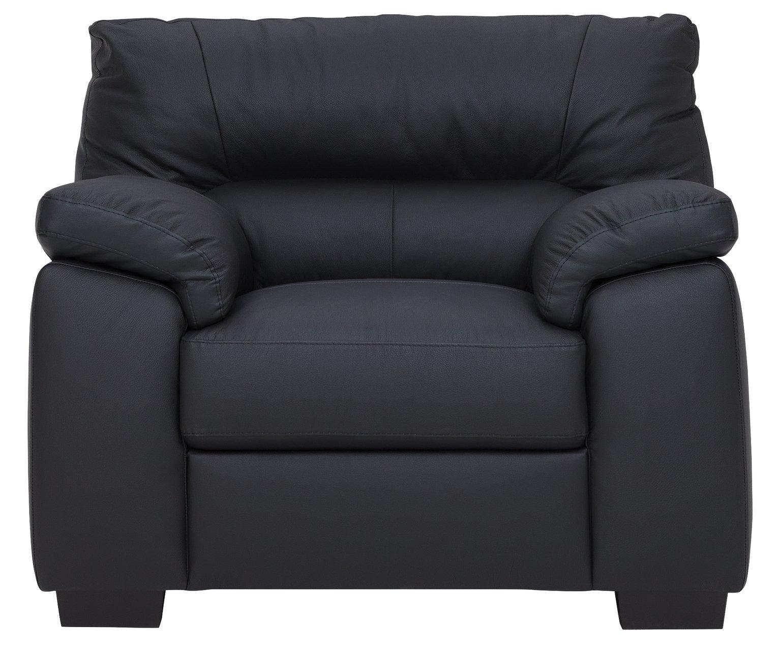 Argos Home Piacenza Leather Mix Armchair - Black