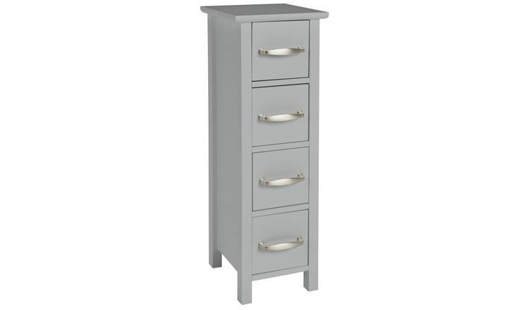 Argos Home Tongue & Groove 4 Drawer Slimline Unit - Grey