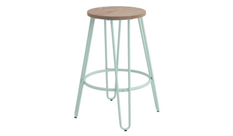 Argos Home Klark Hairpin Wooden Bar Stool - Mint Green