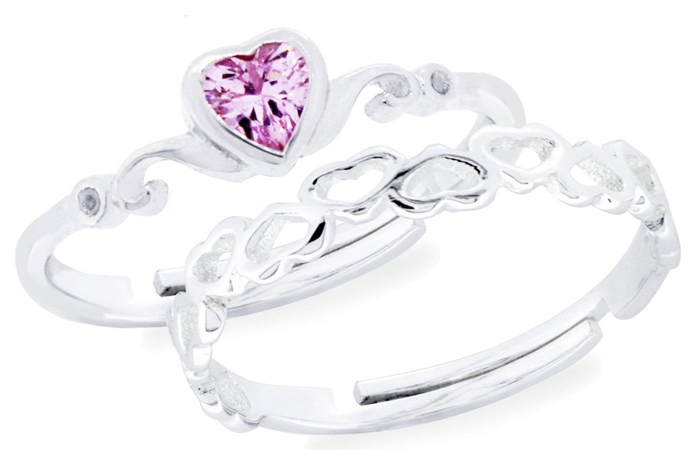 Revere Kids Sterling Silver Heart Adjustable Rings -Set of 2