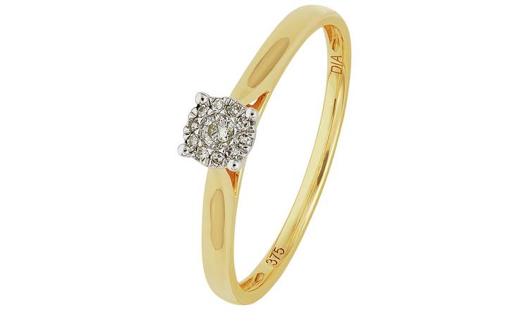 Revere 9ct Gold Diamond Accent Halo Cluster Ring - S