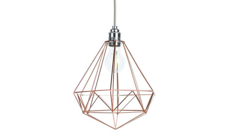 Argos Home Wire Pendant Shade - Rose Gold