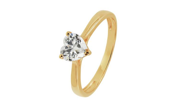 Revere 9ct Gold Heart Cut Cubic Zirconia Solitaire Ring - S