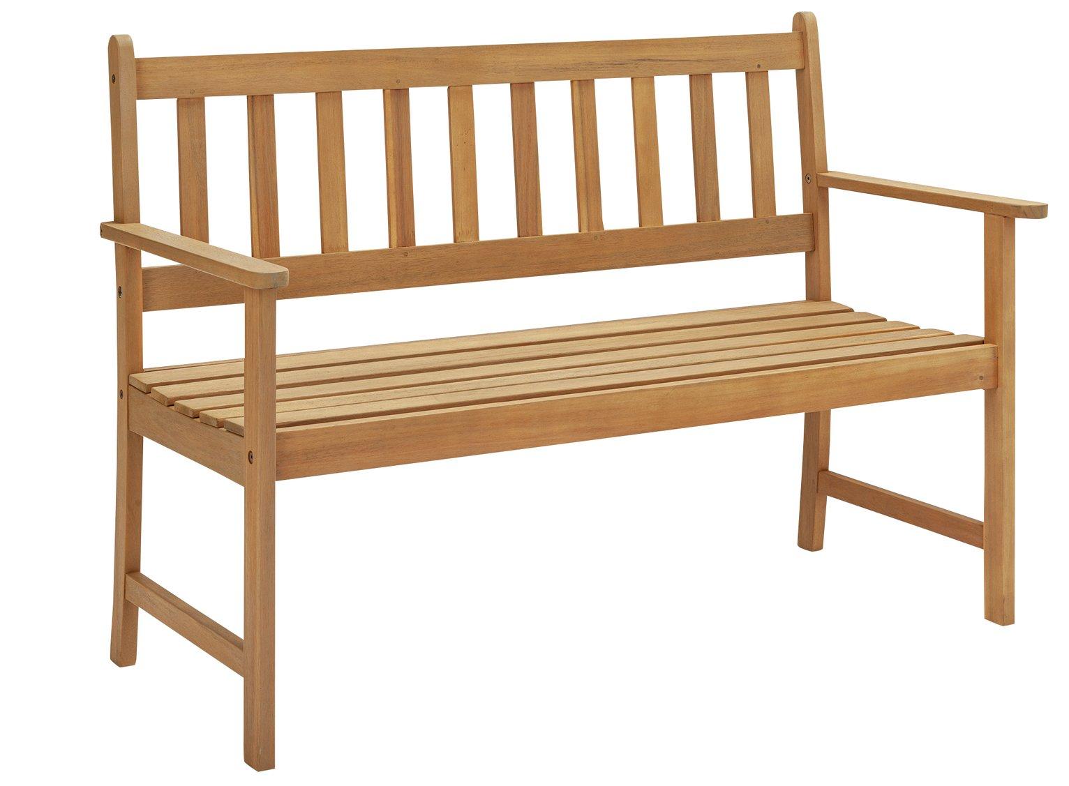 Argos Home Newbury Wooden 2 Seater Garden Bench - Light Wood