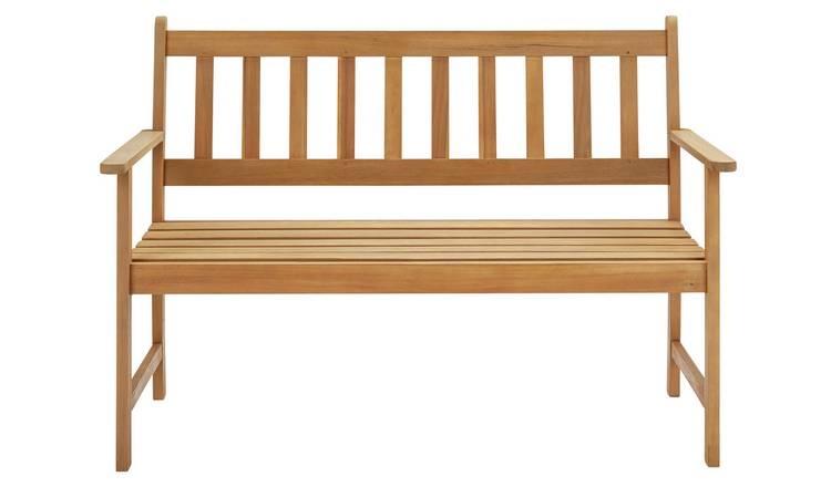 Argos Home Newbury Wooden 2 Seater Garden Bench - Light Wood 2