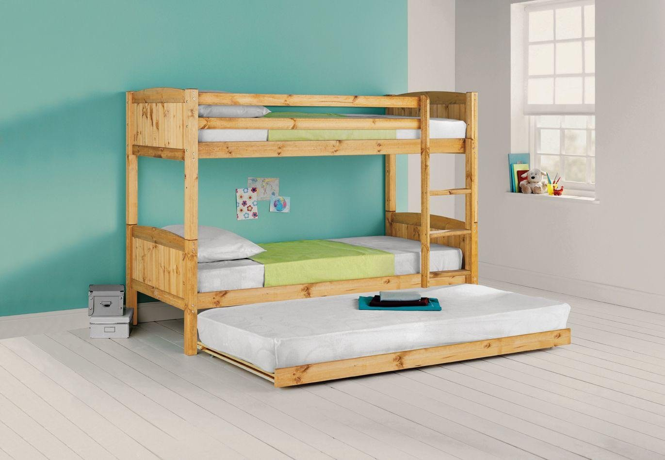 Argos Home Detachable Pine Bunk Bed, Trundle & 3 Mattresses