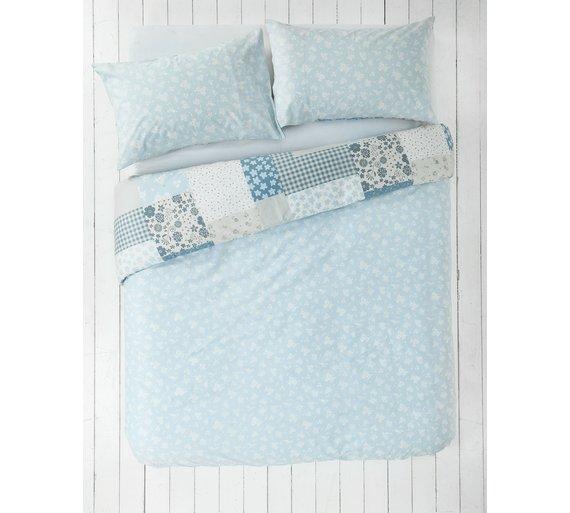buy home blue patchwork bedding set double at. Black Bedroom Furniture Sets. Home Design Ideas
