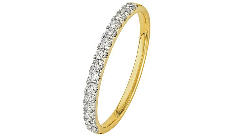 Revere 9ct Gold 0.25ct Diamond Claw Set Eternity Ring - T