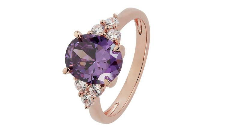 Revere 9ct Rose Gold Plated Oval Cut Cubic Zirconia Ring - Q