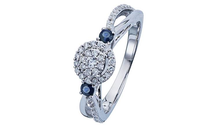 Revere 9ct White Gold Sapphire & 0.33ct Diamond Halo Ring -O
