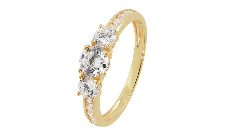 Revere 9ct Gold Cubic Zirconia 3 Stone Shoulder Ring - U