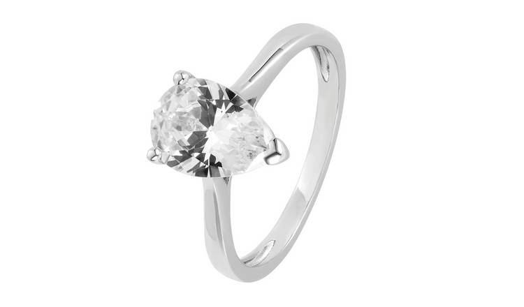 Revere Sterling Silver Cubic Zirconia Solitaire Ring - T