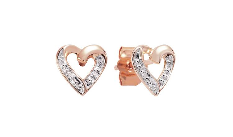 Revere 9ct Rose Gold 0.01ct TW Diamond Heart Stud Earrings
