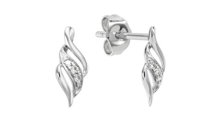 Revere 9ct White Gold Diamond Flame Stud Earrings