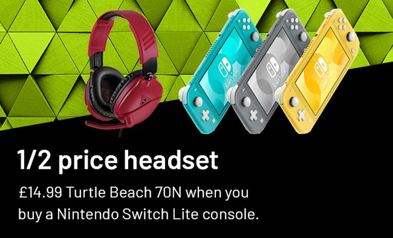 Half price headset £14.99. Turtle beach 70N when you buy a Nintendo Switch Lite console.