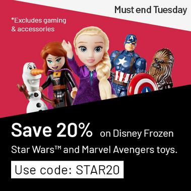 Crazy Toy Codes. Save 20% on Disney Frozen, Star Wars™ and Marvel Avengers toys. Use code STAR20 *Excludes gaming and accessories.