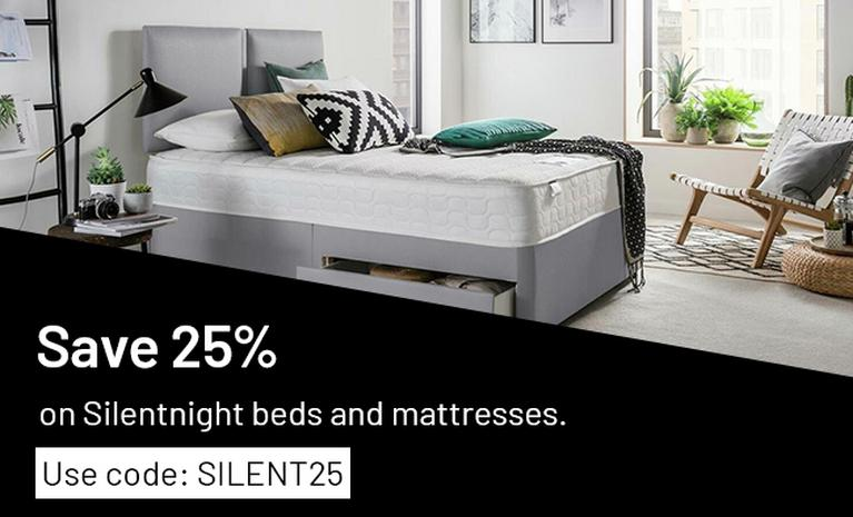 Save 25% on Silentnight beds and mattresses. Use code: SILENT25.