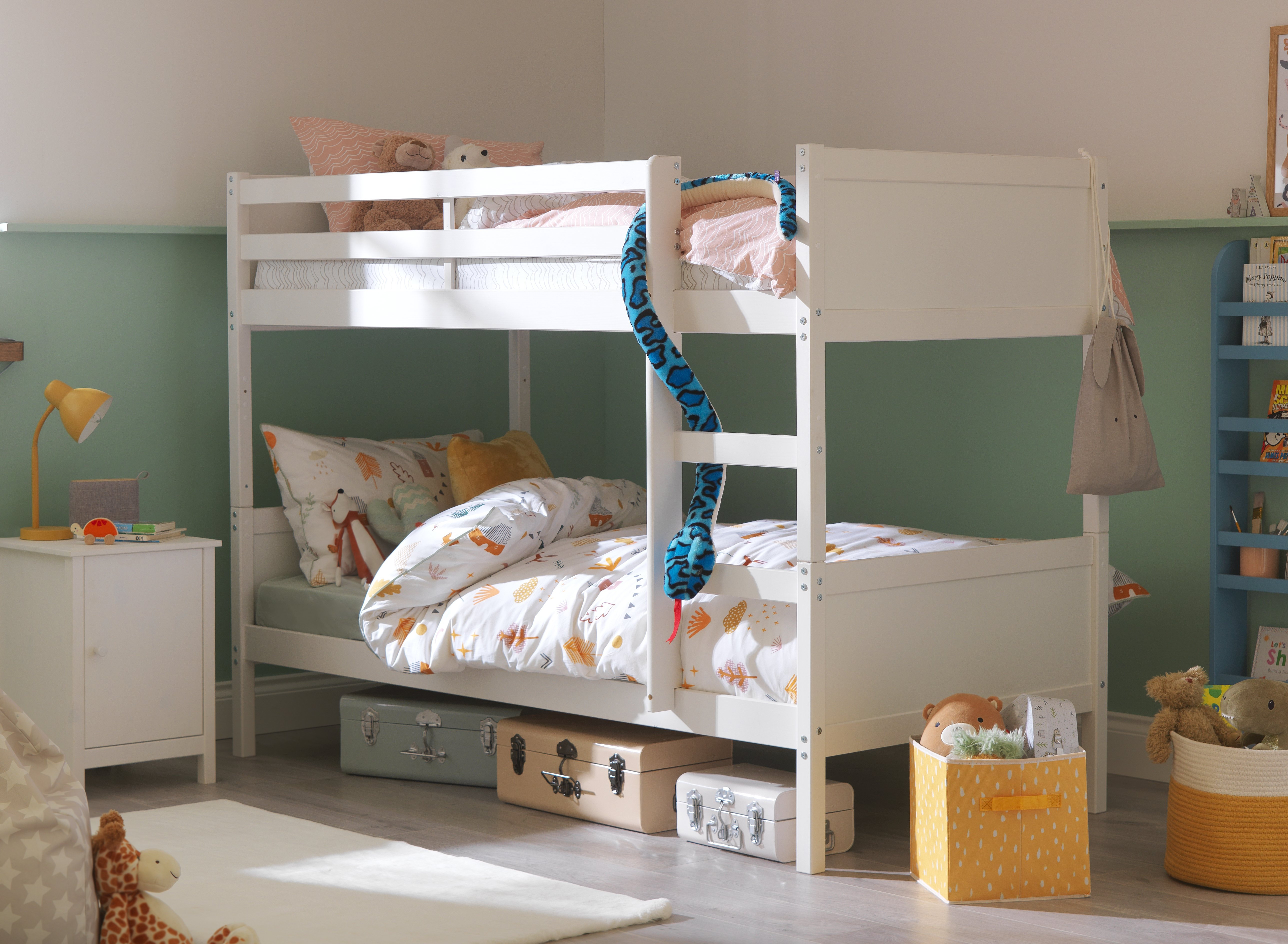 Image of Argos - Detachable - Single Bunk Bed with 2 Ashley Mattresses - White
