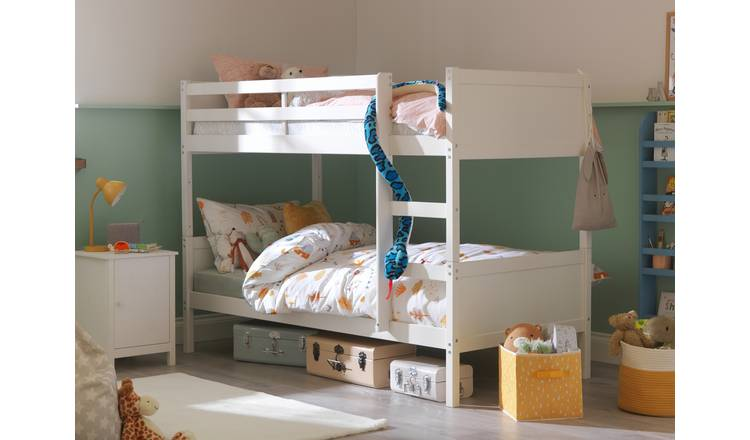 Argos Home Detachable Bunk Bed and 2 Kids Mattresses - White