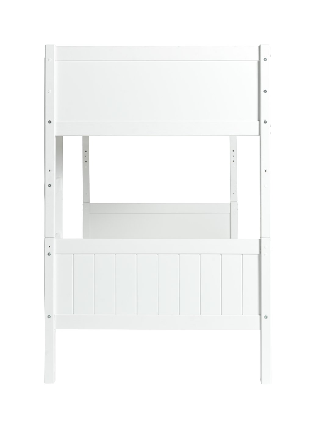 Detachable single bunk bed with 2 ashley mattresses white for Single bunk bed