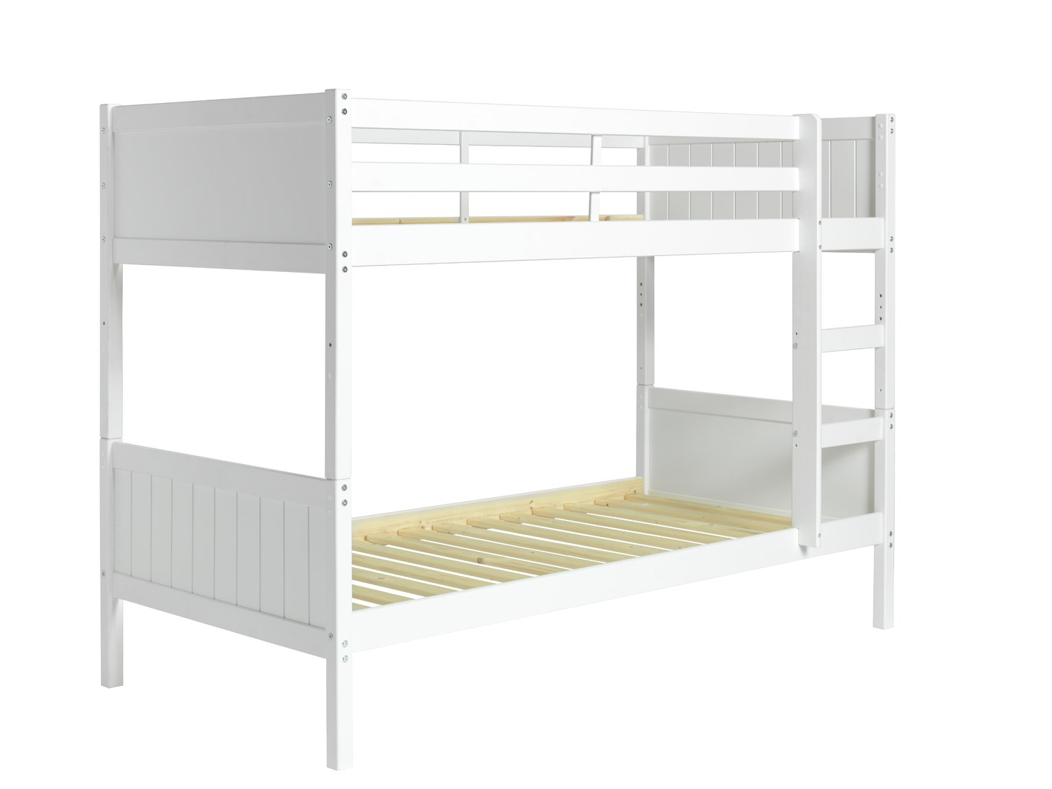 Image of Detachable - Single Bunk Bed with 2 Ashley Mattresses - White