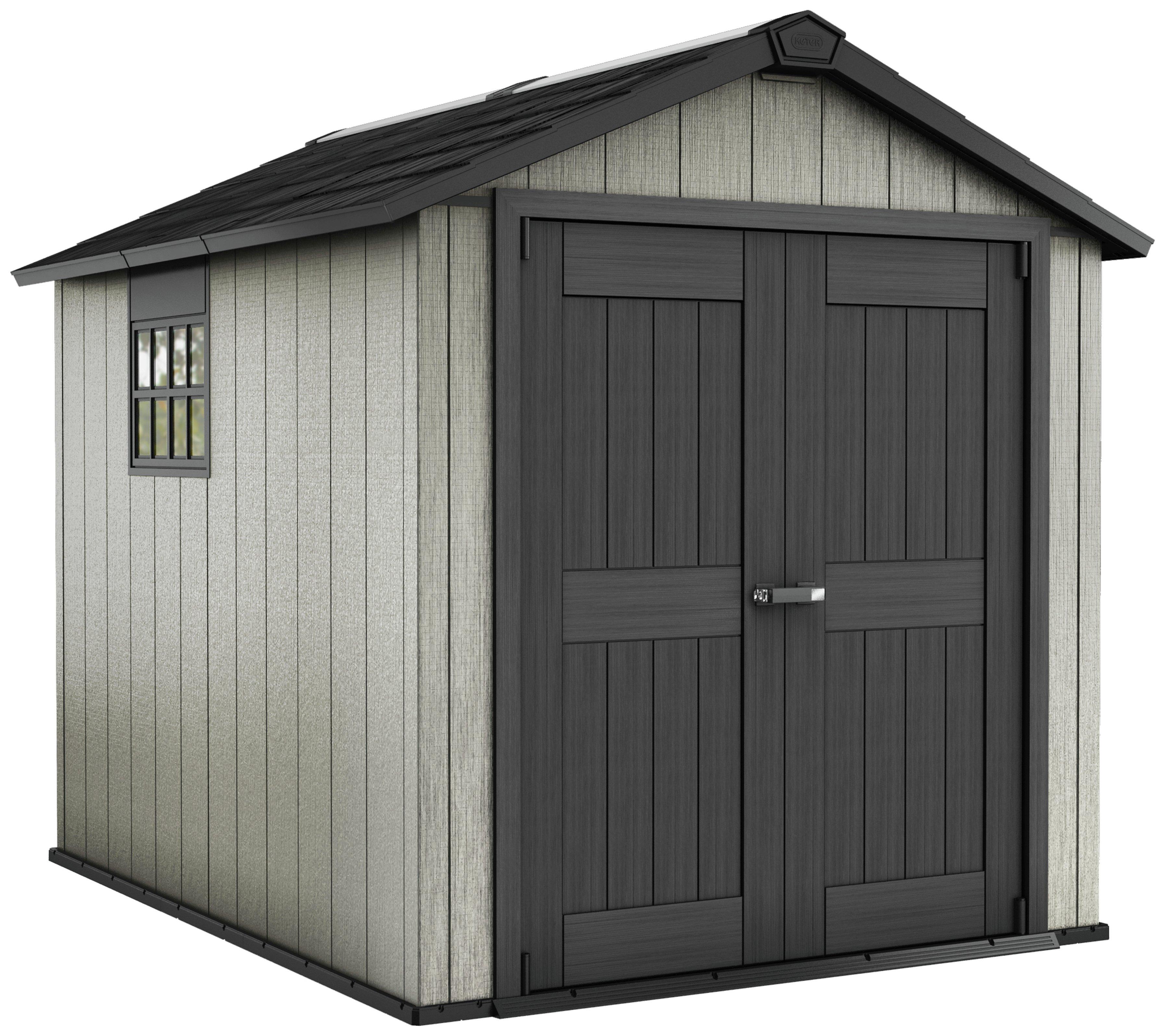 Keter oakland plastic grey brown garden shed 7 5 x 9ft - Brown plastic garden sheds ...