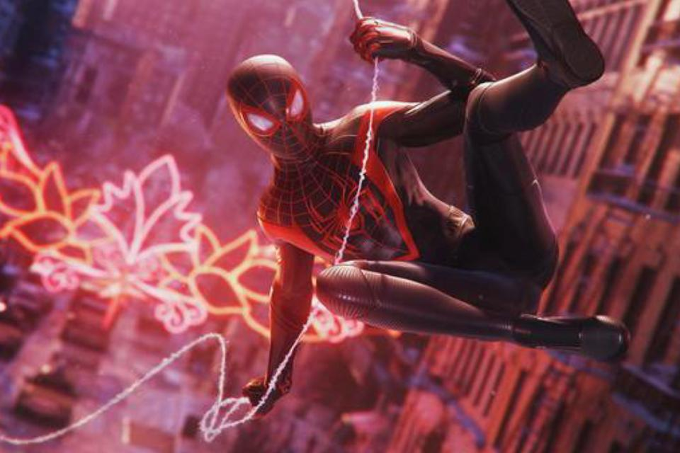 Miles Morales swings through the streets of New York as Spider-Man.