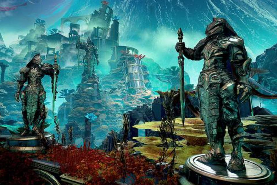 A screenshot from Godfall of a magical realm with grand statues.