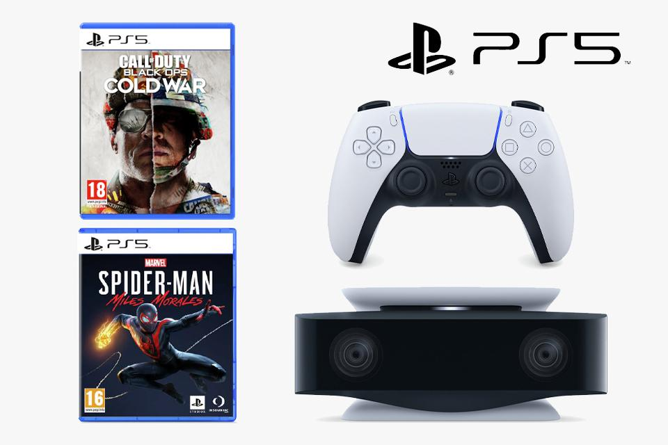A PS5 controller, a PS5 headset, Call of Duty: Black Ops Cold War and Marvel's Spider-Man: Miles Morales.