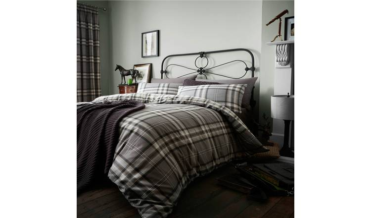 Catherine Lansfield Kelso Charcoal Bedding Set - Kingsize