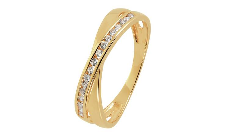 Revere 9ct Gold Open Crossover Cubic Zirconia Ring - S