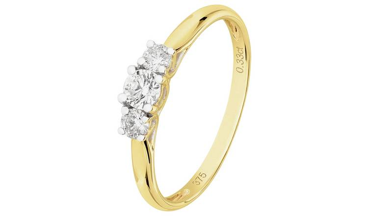 Revere 9ct Gold 0.33ct tw Diamond Trilogy Ring - M