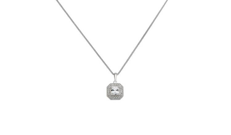 Revere Sterling Silver Square Halo Pendant Necklace