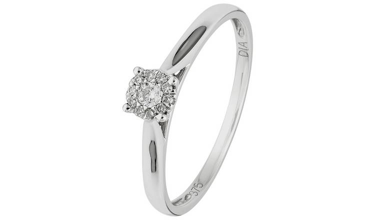 Revere 9ct White Gold Diamond Accent Halo Cluster Ring - L