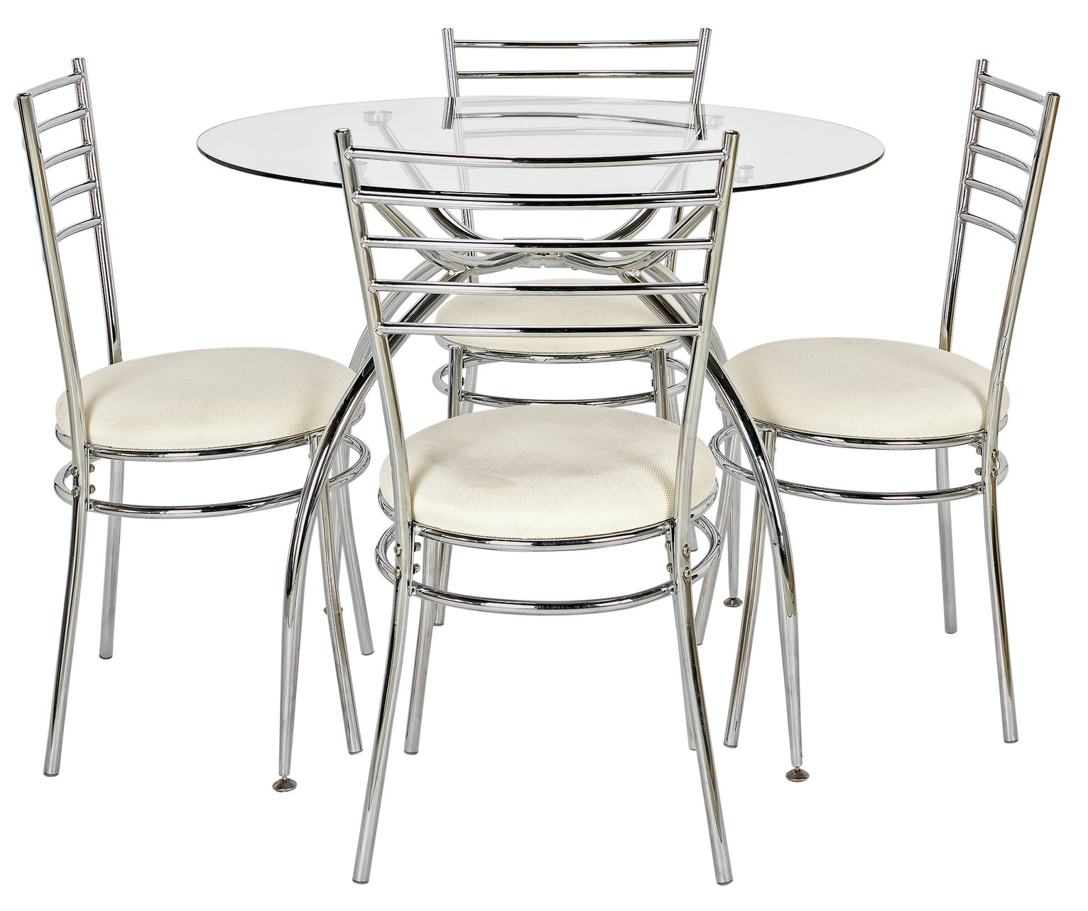 Image of HOME Lusi Glass Dining Table and 4 Chairs - White