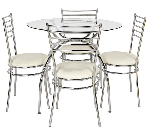 buy home lusi glass dining table and 4 chairs cream at. Black Bedroom Furniture Sets. Home Design Ideas