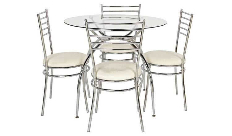 Argos Home Lusi Glass Dining Table & 4 Cream Chairs