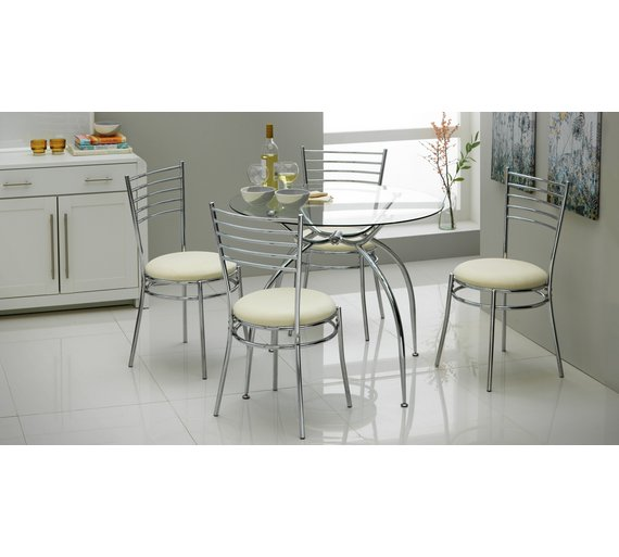 Argos Kitchen Bar Table And Chairs: Buy HOME Lusi Glass Dining Table And 4 Chairs