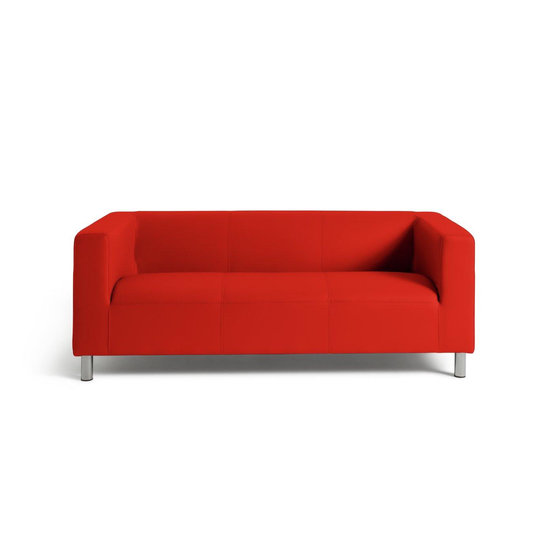 Argos Home Moda 3 Seater Faux Leather Sofa - Red