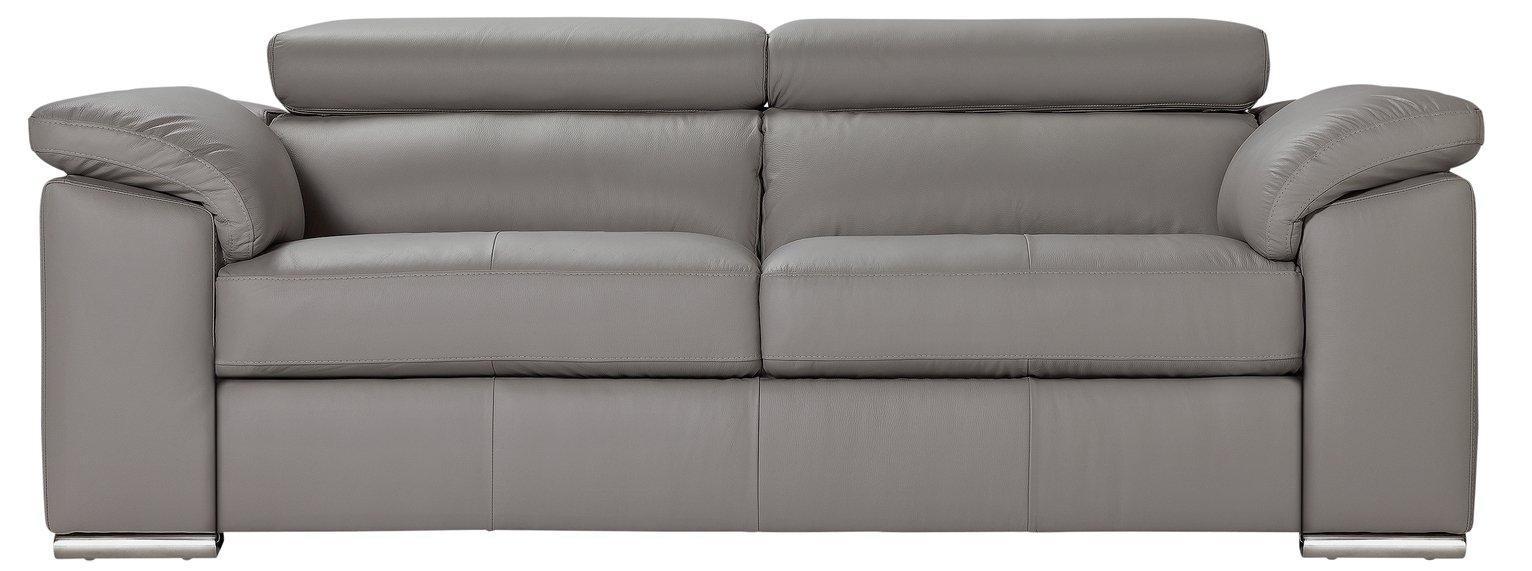 Buy Hygena Valencia 3 Seater Leather Sofa Grey at Argoscouk